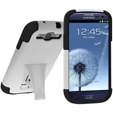Amzer Hybrid Kickstand Case Cover For Samsung GALAXY S 3 GT-I9300 - Black/White