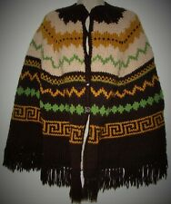 Vintage Handmade Crochet Knitted Afghan Poncho Wrap Shawl w/ Button Front Fringe