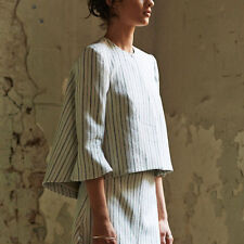 Ellery Oversized Umbrella Bubble Back Striped Linen Orb Jacket 0/36