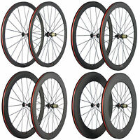 700C Clincher Carbon Road Bike Wheelset 271 Hub Carbon Wheels Basalt Brake Line
