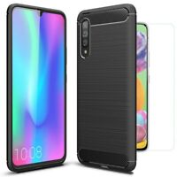 For Samsung Galaxy A90 5G Case Carbon Fibre Cover & Glass Screen Protector