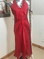 Oasis Red Backless Halterneck Floaty Embellished Dress Size 10 100% Silk