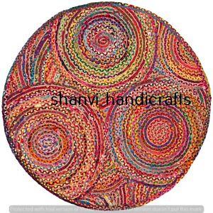 Round Rag Rug Floor Rug Handmade Jute Chindi Cotton 3 Feet Hand Braided Area Rug