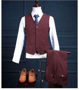 Burgundy Men's Herringbone Tweed Formal Business Waistcoat Slim Fit Casual Vest