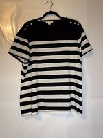 Coldwater Creek Black & White Striped Short Sleeve Top W/ Buttons Size 1X 18