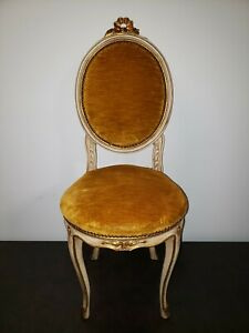 antique French Country Louis XV Style Boudoir Vanity Chair ~ Shabbie