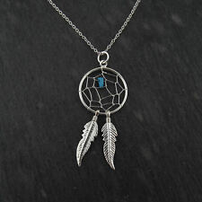 Dream Catcher Necklace - 925 Sterling Silver - Dreamcatcher Feathers Turquoise