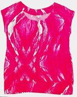 Calvin Klein Size L Pink White Top Blouse Short Sleeve Boho Peasant