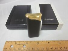 Vtg NOS Butane Sarome Cigarette Cigar Lighter Tobacciana Torch Black Goldtone