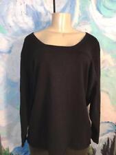 Patti LaBelle Plus 1X Black Scoop Neckline Cotton Blend 3/4 Sleeve Tunic Top