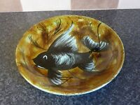 VINTAGE BASTIAN QUIMPER ORNATE POTTERY SIGNED FISH PLATE VGC FOR AGE
