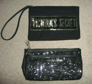 Lot 2 Victorias Secret Black sequins signature embellished clutch wristlet bags