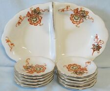 Koenigszelt Orange Flower Gold Trim 10 Butter Pats and Handled Relish