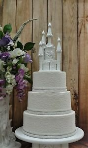 WHITE HAND MADE BEAUTY AND THE BEAST CASTLE WEDDING CAKE TOPPER