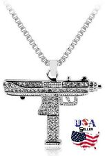 New Silver Tone Iced Out UZI Machine Gun Stainless Steel Revolver Necklace Chain