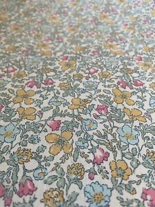 LIBERTY FABRIC 'MEADOW' IN YELLOW, PINK AND GREEN on TANA LAWN COTTON
