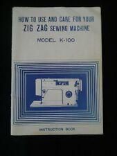 New listing Vintage Zigzag Sewing Machine Maual Model K 100