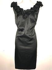 LONDON STYLE NIGHTS WOMENS LADIES LITTLE BLACK SATIN COCKTAIL PARTY DRESS ~SZ 14
