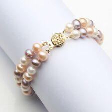 AAA+ 2 Rows 7-8mm Multicolor Natural Freshwater Akoya Pearl Bracelet 7.5""