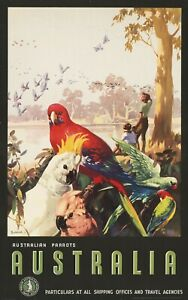 Vintage Travel Poster Australian Parrots Australia
