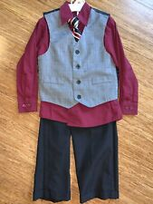 EUC! Boys 4 Pc Suit Shirt Pant Vest Tie Outfit Set 5 Church School Wedding Red