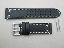 Genuine Luminox 26mm Field 1880 1888 black leather watch band silver rivets
