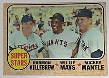 1968 TOPPS MICKEY MANTLE WILLIE MAYS KILLEBREW SUPER STARS CARD #490 VG/EX