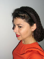 Filet cheveux inspiration pinup retro snood crochet marron coiffure 40/50's