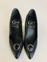 Rockabilly Vintage Retro CONTESSA Shoes Slip On Black Leather UK 4