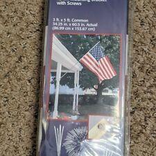 Usa Flag Set 3'X5' w 6 ft.Pole Eagle Topper Screws/Bracket Made in Usa #R114 New