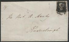 1840 SG2 1d BLACK PLATE 5 BLACK CROSS 4 MARGINS COVER RIPON TO KNARESBOROUGH TG