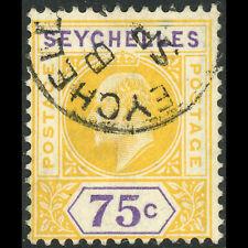 SEYCHELLES 1903 75c Yellow & Violet. SG 54. Fine Used. (W0548)