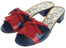 c21868946ccb NEW GUCCI CURRENT NAVY BLUE LEATHER RED BOW LOW HEEL SLIDE SANDALS SHOES  36.5