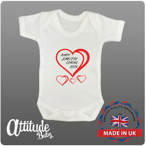 Personalised Custom Baby Grow-Baby Name Vest-Pregnancy Announcement-Baby Shower