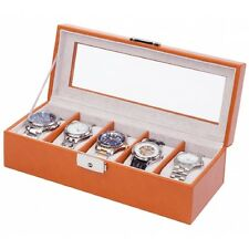Orbita Roma 5 Watch Case Glass Top Display Storage Box Saddle Tan Leather W93013