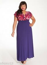 NWT Authentic Plus Size IGIGI Linea Maxi Dress in Floral/Violet,18/20