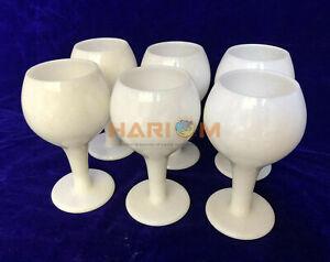 """Set of 6 White Marble 6"""" Wine Glasses Handmade Decorative Best Gift For Men D131"""