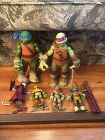 Teenage Mutant Ninja Turtles Action Figure Lot Splinter, Leonardo, Weapons TMNT
