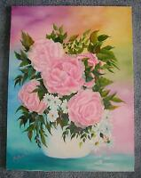 PINK GARDEN NATURE BOTANICAL ROSES FLOWERS W/ RAINBOW COLORS STILL LIFE PAINTING