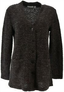 Susan Graver Boucle Button Front Cardigan Charcoal XS NEW A298477