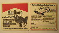 Marlboro Collectable Beer Mat / Coaster Mustang Competiton 1981 Mint Condition!