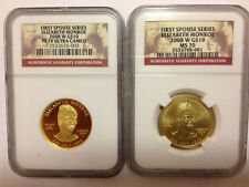 2008 W ELIZABETH MONROE FIRST SPOUSE PF70  PR70 MS70 2 COIN SET