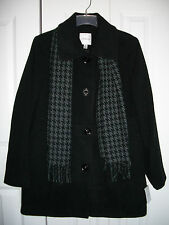 NWT Croft & Barrow Women's Size M Wool Coat Jacket and Acrylic Scarf $180 Black
