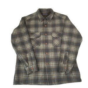 Vintage Pendleton Brown & Blue Check Pure Virgin Wool Shirt - Mens Large