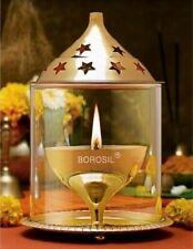 Brass Akhand Jyot Diya Molded Glass & Plate, Oval Shape, Diwali Oil Puja Lamp