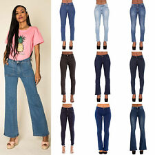 Womens Boot Cut Jeans Ladies Stretch Denim Flared Blue Jeans Size 6-14