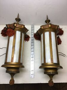 Pair of Art Deco Middle Eastern Style Wall Sconce Light Fixtures Theatre Lights
