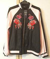 M&S Limited Collection Ladies Pink & Black Embroidered Bomber Jacket Size 8 BNWT