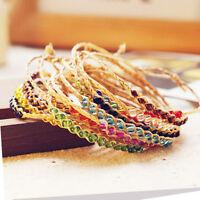 2x BOHO Handmade Braid Woven Dry Raffia Beads Bracelet Anklets Friendship Chain