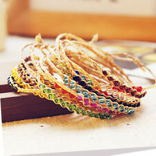 2x BOHO Handmade Braid Woven Dry Raffia Beads Bracelet Anklets Friendship Chain